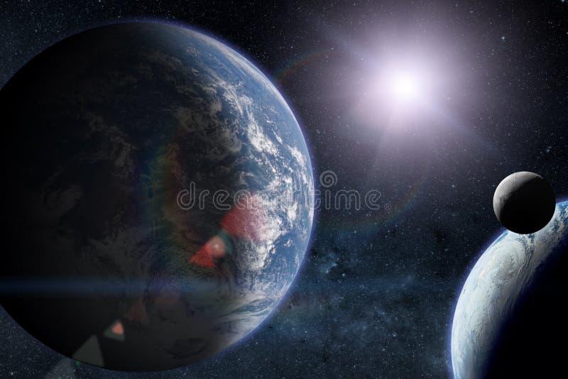 Планеты чужеземца с землей в космическом пространстве Элементы этого изображения поставленные NASA иллюстрация штока