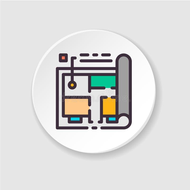 Планирование дома значка Пользовательский интерфейс UI/UX иллюстрация вектора