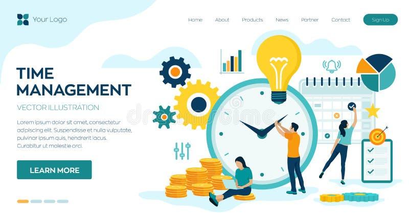 Планирование контроля времени, организация и концепция контроля для effiecient успешного и выгодного дела Концепция времени работ иллюстрация штока