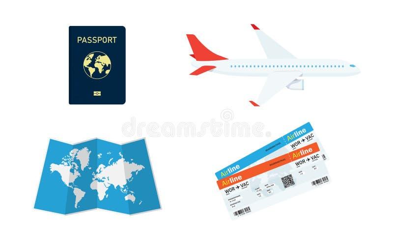 Планирование перемещения Пасспорт, билет самолета, карта мира иллюстрация вектора