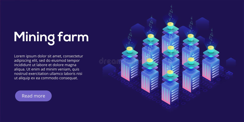 Планировка фермы минирования Cryptocoin Cryptocurrency и сеть blockchain иллюстрация вектора