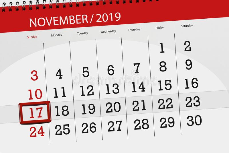 Планировщик календаря на месяц ноябрь 2019 года, день крайнего срока, 17, воскресенье стоковая фотография rf