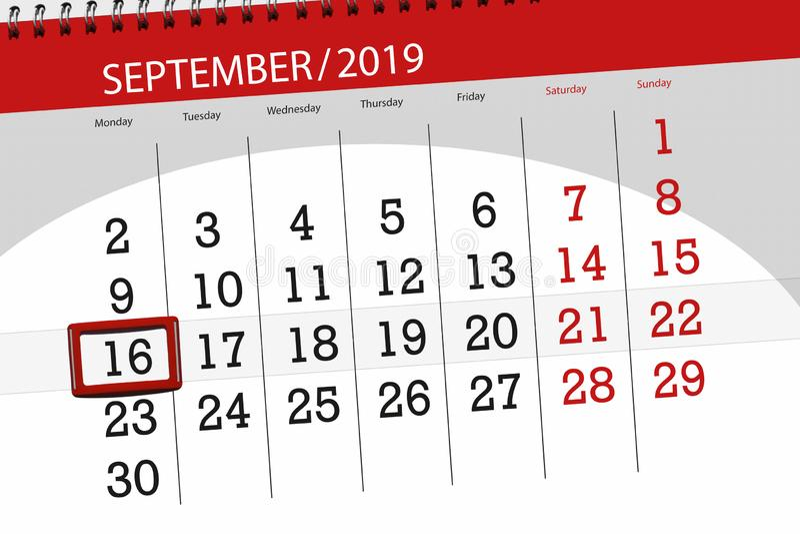 Планировщик календаря на месяц сентябрь 2019 года, день крайнего срока, 16, понедельник стоковые фотографии rf