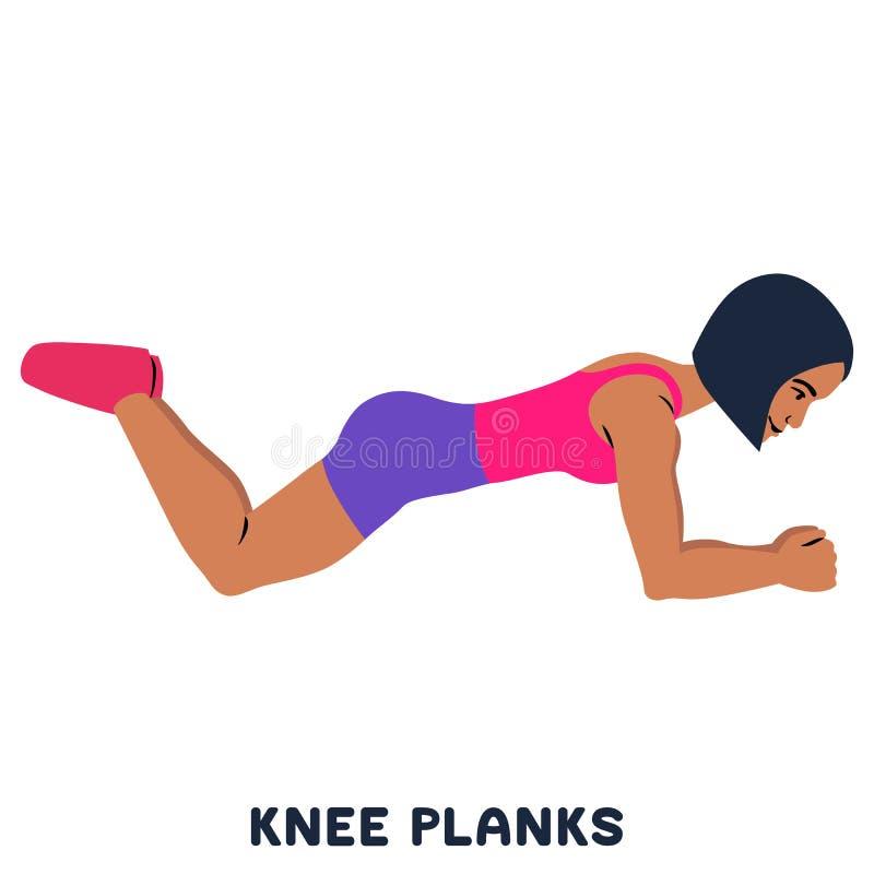 Планки колена Exersice спорта Силуэты женщины делая тренировку Разминка, тренируя бесплатная иллюстрация