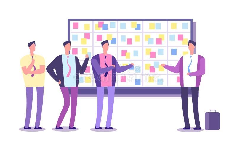Плановая комиссия груды Работники планируя работу на taskboard Бизнес-процесс полагаясь и встречая концепция вектора бесплатная иллюстрация