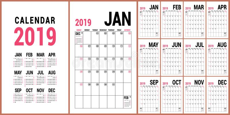 Плановик 2019 Английский шаблон календаря Решетка календаря вектора O стоковые изображения