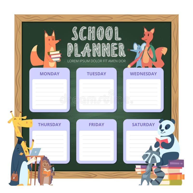 Плановик для детей Организация списка школы личная для вектора иллюстраций животных мультфильма недели смешного бесплатная иллюстрация