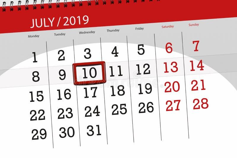 Плановик календаря на месяц июль 2019, день крайнего срока, среда 10 стоковые фото