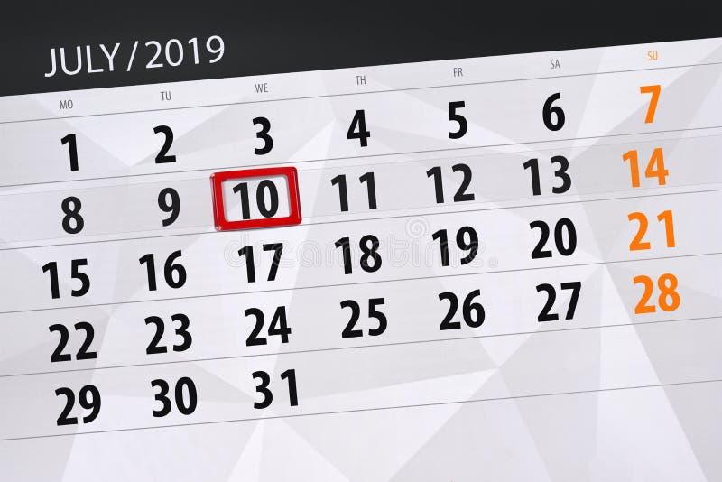 Плановик календаря на месяц июль 2019, день крайнего срока, среда 10 стоковые изображения