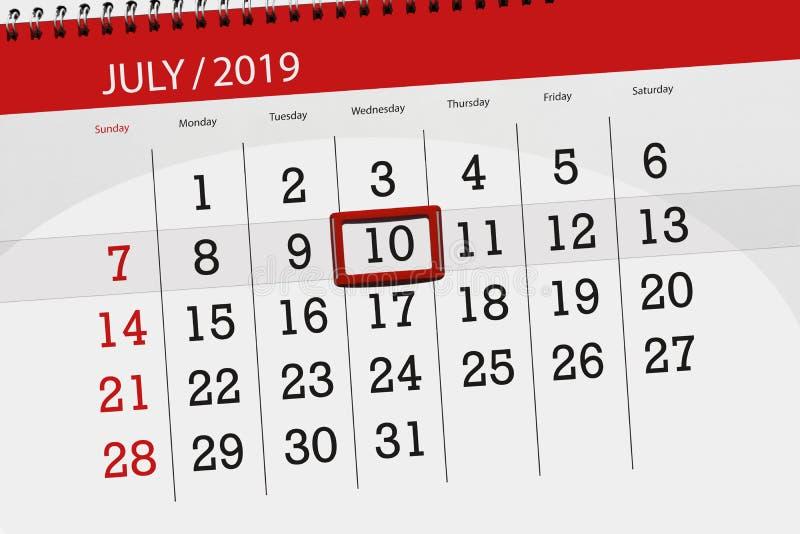 Плановик календаря на месяц июль 2019, день крайнего срока, среда 10 стоковые изображения rf