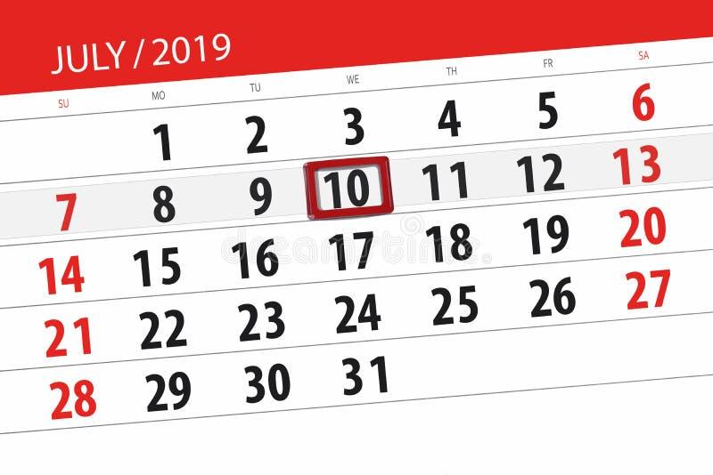 Плановик календаря на месяц июль 2019, день крайнего срока, среда 10 стоковое фото rf