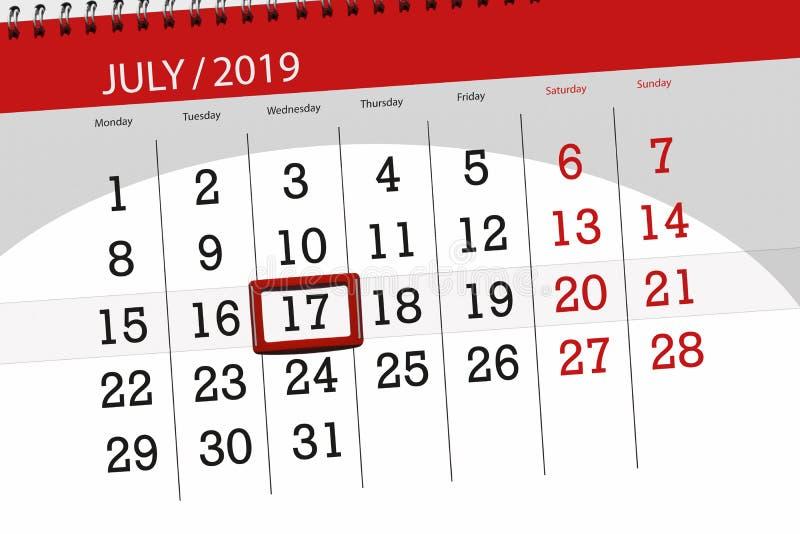 Плановик календаря на месяц июль 2019, день крайнего срока, среда 17 стоковые изображения
