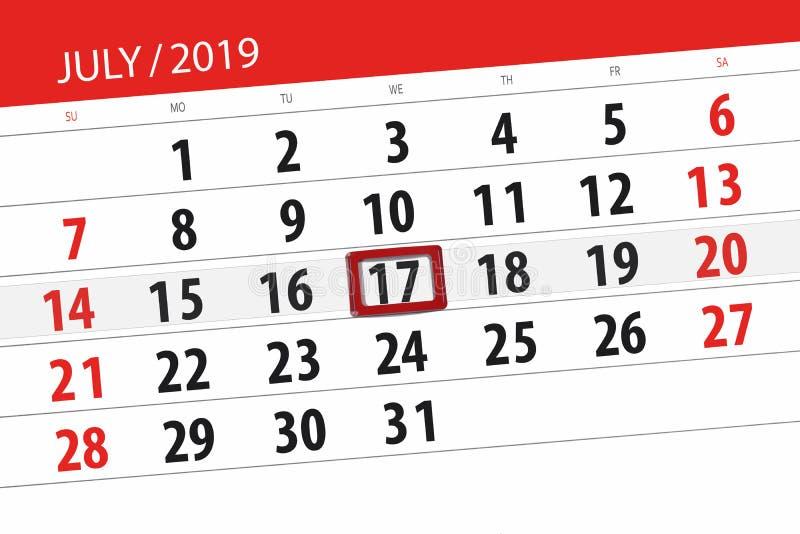 Плановик календаря на месяц июль 2019, день крайнего срока, среда 17 стоковое изображение