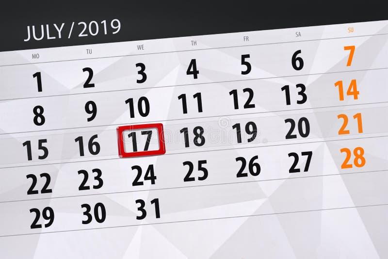 Плановик календаря на месяц июль 2019, день крайнего срока, среда 17 стоковое фото