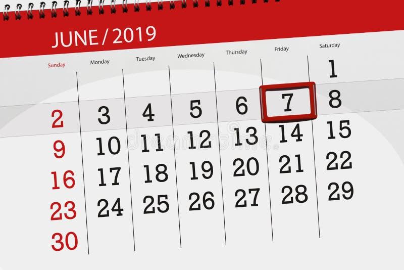 Плановик календаря на месяц июнь 2019, день крайнего срока, 7, пятница бесплатная иллюстрация