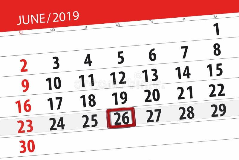 Плановик календаря на месяц июнь 2019, день крайнего срока, 26, среда стоковое изображение rf
