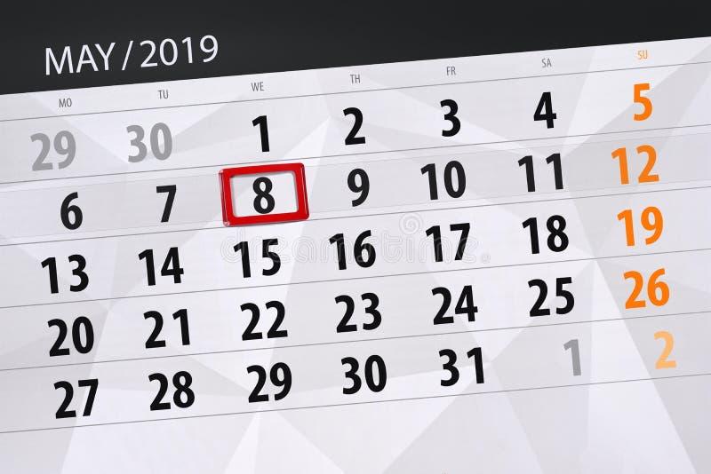 Плановик календаря на месяц может 2019, день крайнего срока, среда 8 стоковое изображение rf