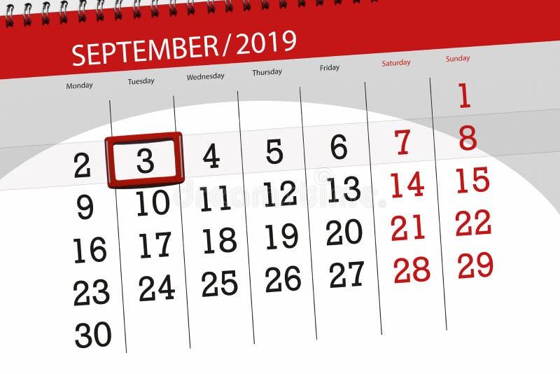 Плановик календаря на месяц сентябрь 2019, день крайнего срока, 3, вторник стоковое фото