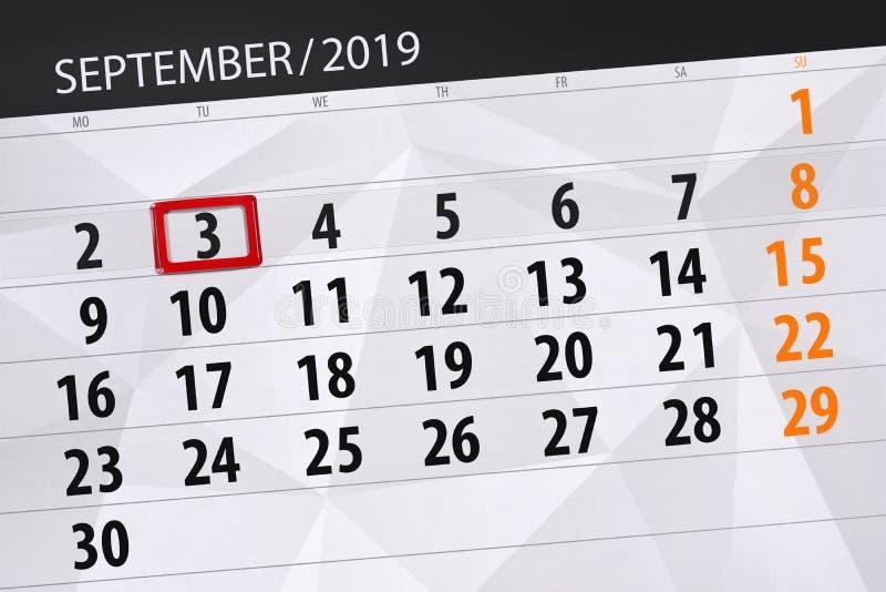 Плановик календаря на месяц сентябрь 2019, день крайнего срока, 3, вторник стоковое фото rf