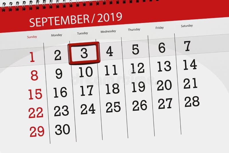 Плановик календаря на месяц сентябрь 2019, день крайнего срока, 3, вторник стоковое изображение rf