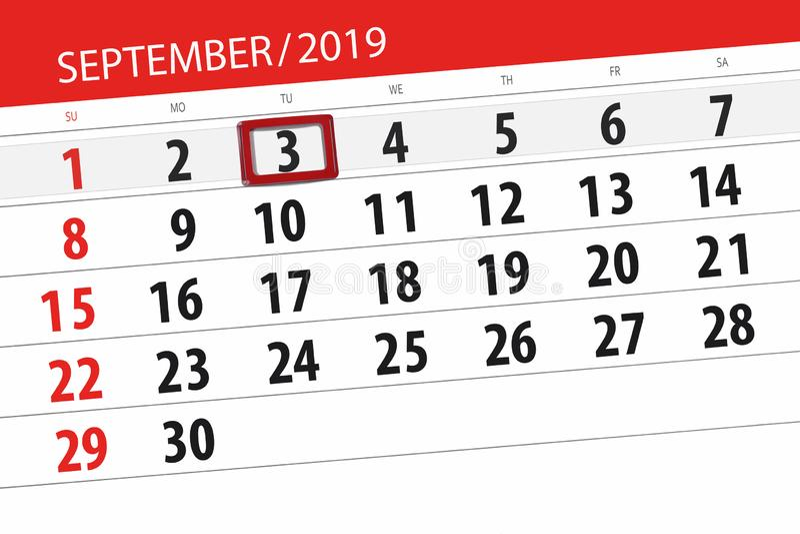 Плановик календаря на месяц сентябрь 2019, день крайнего срока, 3, вторник стоковая фотография