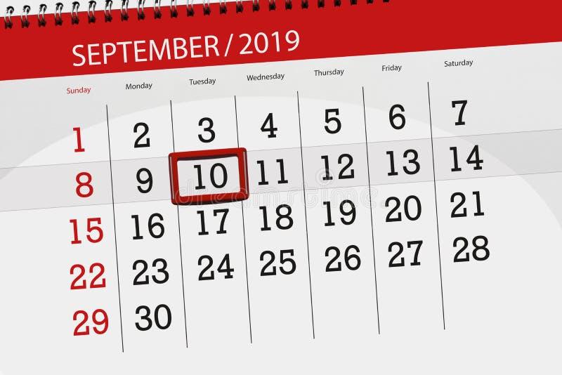 Плановик календаря на месяц сентябрь 2019, день крайнего срока, 10, вторник стоковые изображения