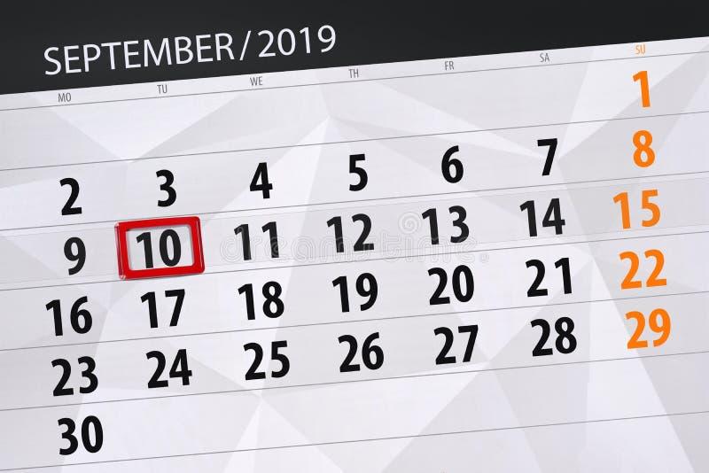 Плановик календаря на месяц сентябрь 2019, день крайнего срока, 10, вторник стоковая фотография