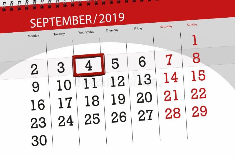 Плановик календаря на месяц сентябрь 2019, день крайнего срока, 4, среда стоковая фотография rf