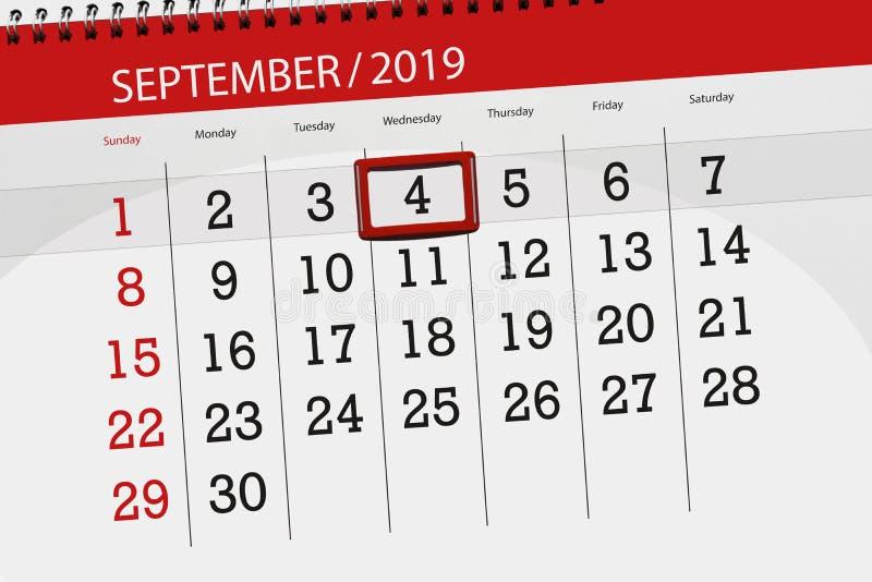 Плановик календаря на месяц сентябрь 2019, день крайнего срока, 4, среда стоковое фото rf