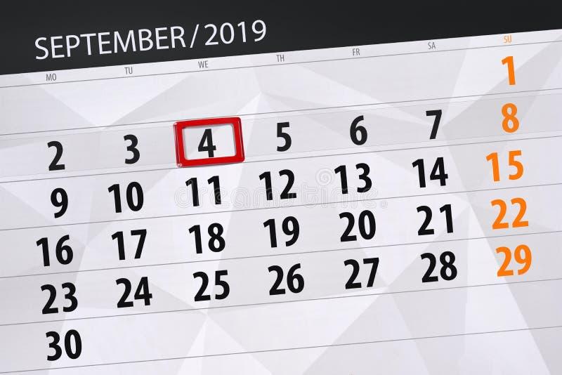 Плановик календаря на месяц сентябрь 2019, день крайнего срока, 4, среда стоковая фотография