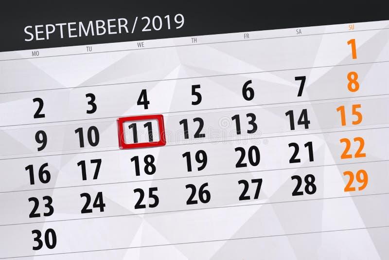 Плановик календаря на месяц сентябрь 2019, день крайнего срока, 11, среда стоковое фото