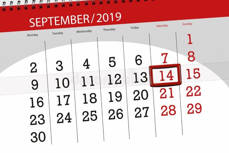 Плановик календаря на месяц сентябрь 2019, день крайнего срока, 14, суббота стоковая фотография rf