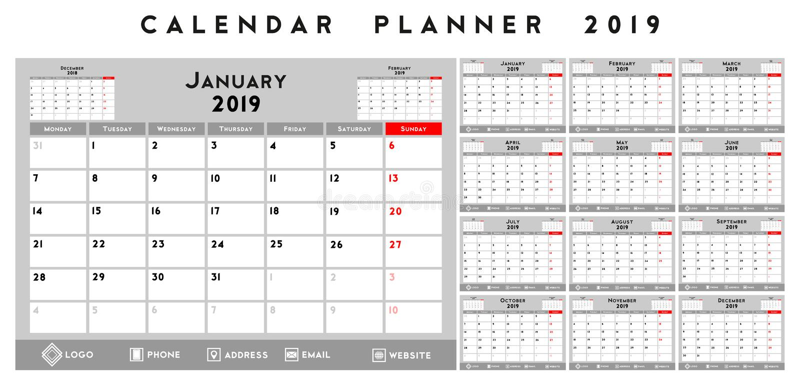 Плановик 2019 календаря иллюстрация вектора