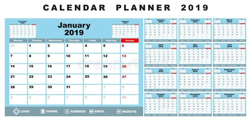 Плановик 2019 календаря бесплатная иллюстрация