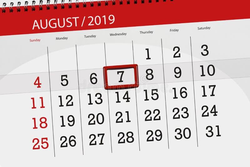 Плановик на месяц, день календаря крайнего срока недели 2019 7-ое августа, среда стоковое изображение