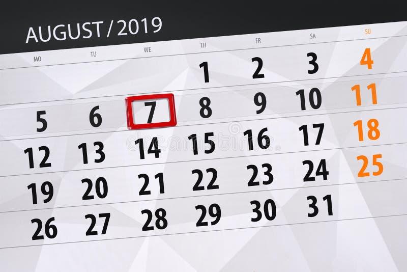 Плановик на месяц, день календаря крайнего срока недели 2019 7-ое августа, среда стоковые изображения