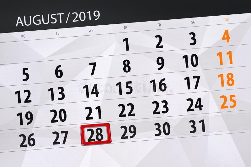 Плановик на месяц, день календаря крайнего срока недели 2019 28-ое августа, среда стоковое изображение rf