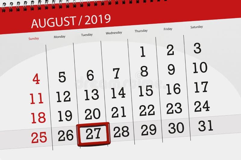 Плановик на месяц, день календаря крайнего срока недели 2019 27-ое августа, вторник стоковое изображение rf