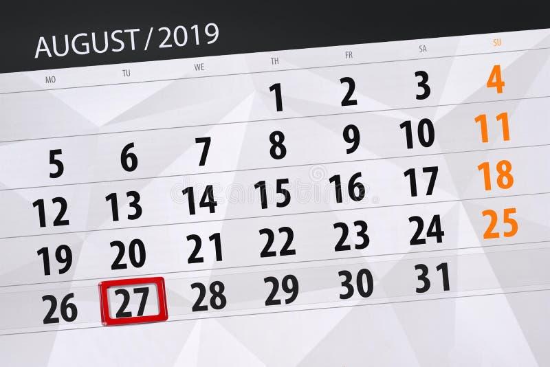 Плановик на месяц, день календаря крайнего срока недели 2019 27-ое августа, вторник стоковые фотографии rf
