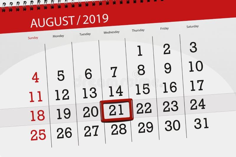 Плановик на месяц, день календаря крайнего срока недели 2019 21-ое августа, среда стоковые фотографии rf