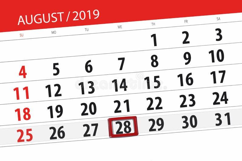 Плановик на месяц, день календаря крайнего срока недели 2019 28-ое августа, среда стоковые изображения rf