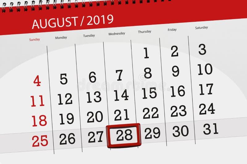 Плановик на месяц, день календаря крайнего срока недели 2019 28-ое августа, среда стоковая фотография rf