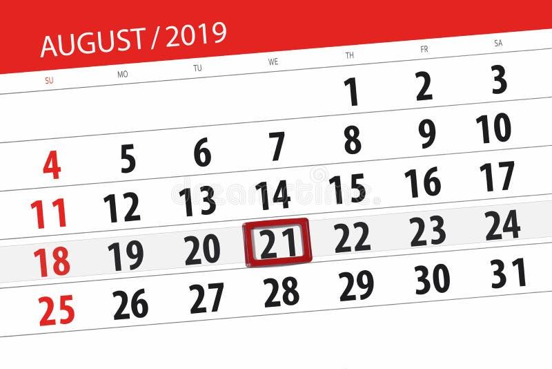Плановик на месяц, день календаря крайнего срока недели 2019 21-ое августа, среда стоковые изображения