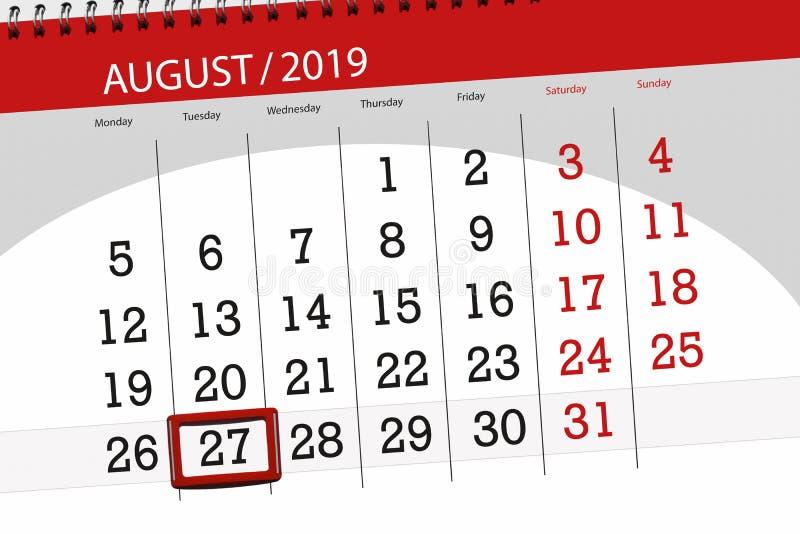 Плановик на месяц, день календаря крайнего срока недели 2019 27-ое августа, вторник стоковое фото