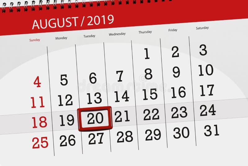 Плановик на месяц, день календаря крайнего срока недели 2019 20-ое августа, вторник стоковые фото
