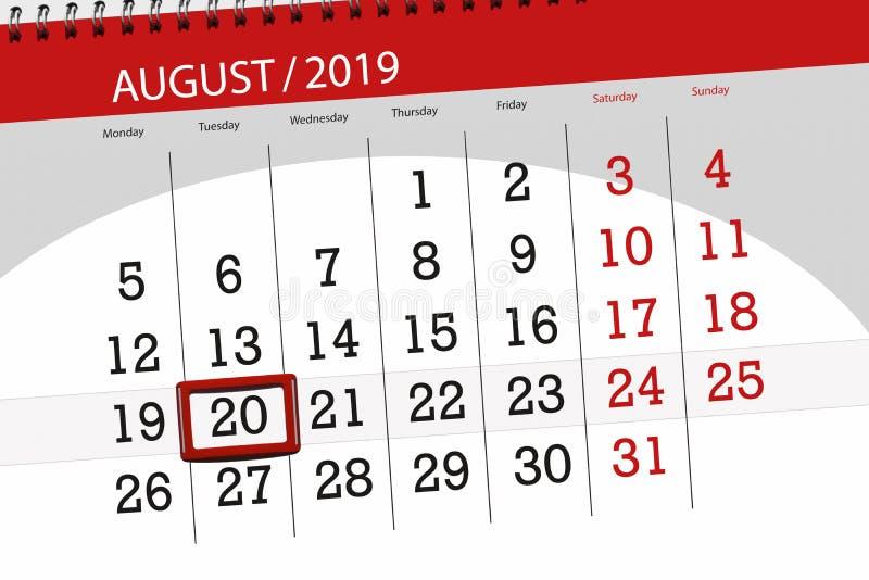 Плановик на месяц, день календаря крайнего срока недели 2019 20-ое августа, вторник стоковые изображения rf