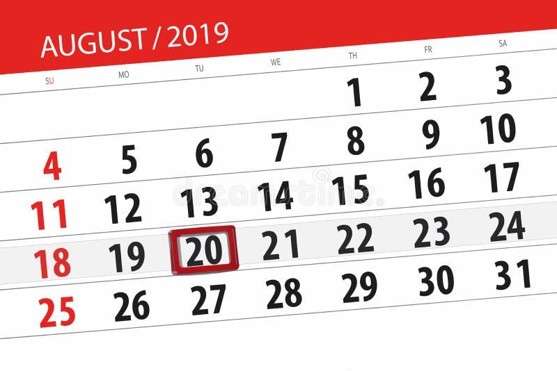 Плановик на месяц, день календаря крайнего срока недели 2019 20-ое августа, вторник стоковые изображения