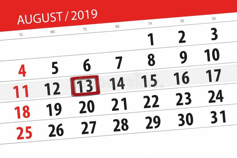 Плановик на месяц, день календаря крайнего срока недели 2019 13-ое августа, вторник стоковое изображение