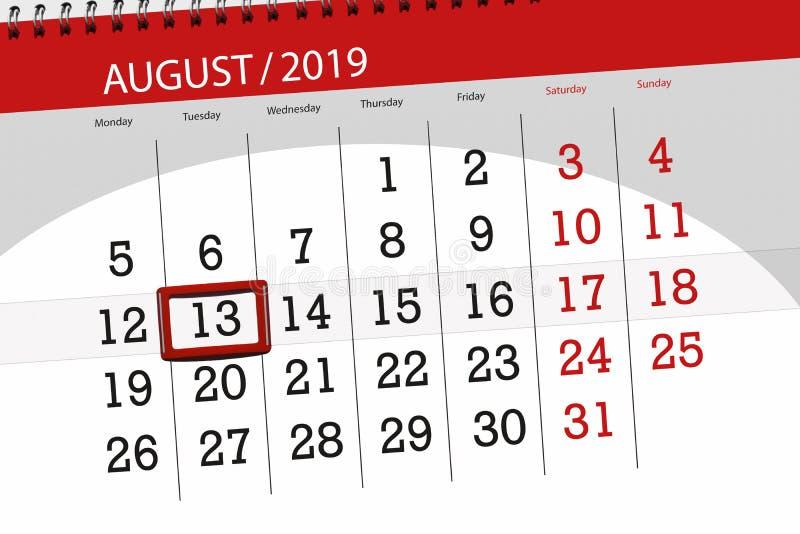 Плановик на месяц, день календаря крайнего срока недели 2019 13-ое августа, вторник стоковое изображение rf