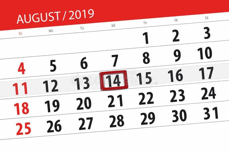 Плановик на месяц, день календаря крайнего срока недели 2019 14-ое августа, среда стоковые изображения